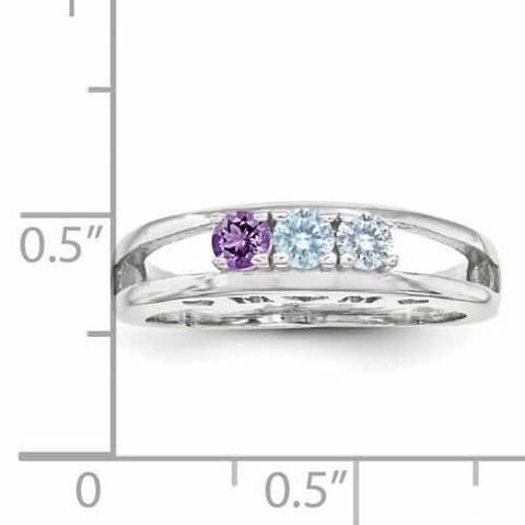Image of SS 3mm Synthetic Family Jewelry Ring - 3 Stones - AydinsJewelry