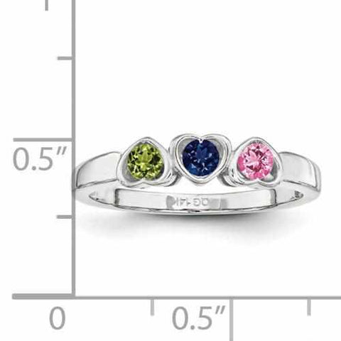 Image of SS Synthetic 3 Stone Mother's Ring - AydinsJewelry