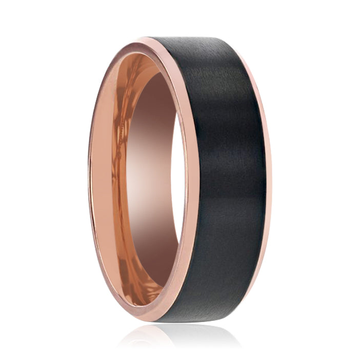 STEPHEN Rose Gold Inside and Black Titanium Flat Brushed Center Men's Wedding Ring With Beveled Polished Edges - 8mm