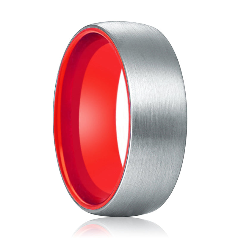 NOBLE Tungsten Silver Domed and Red inside Aluminum Ring.