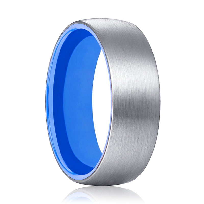 Tungsten Silver Domed and Deep Blue inside Aluminum Ring.