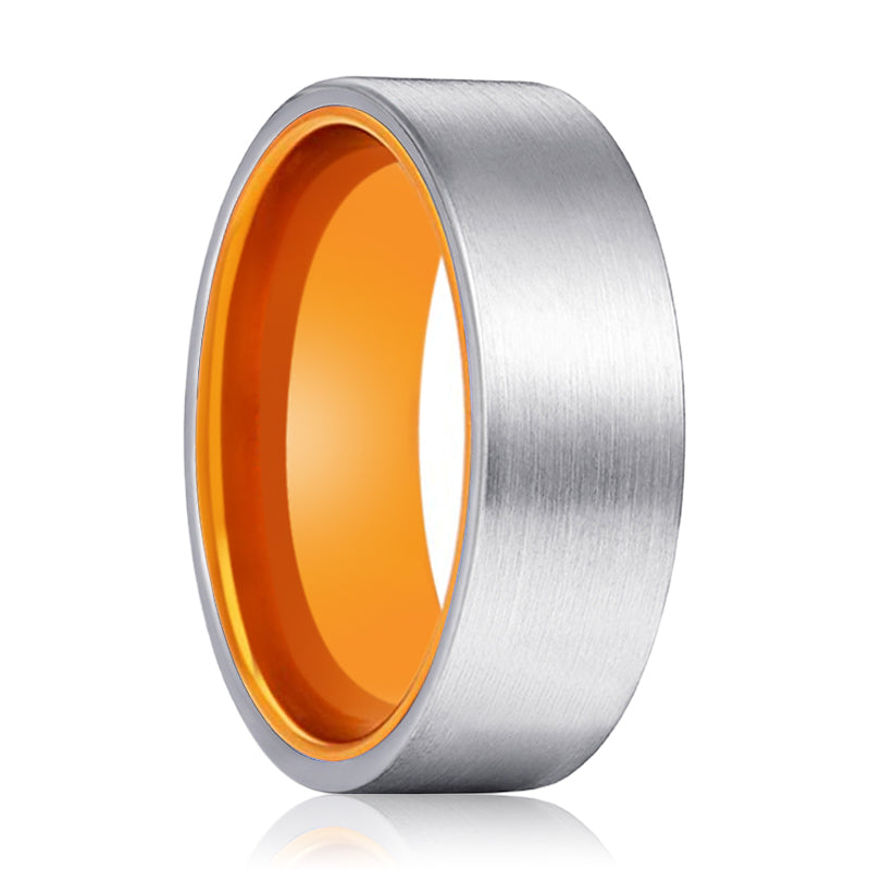 Tungsten Silver Flat and Orange Inside Aluminum Ring