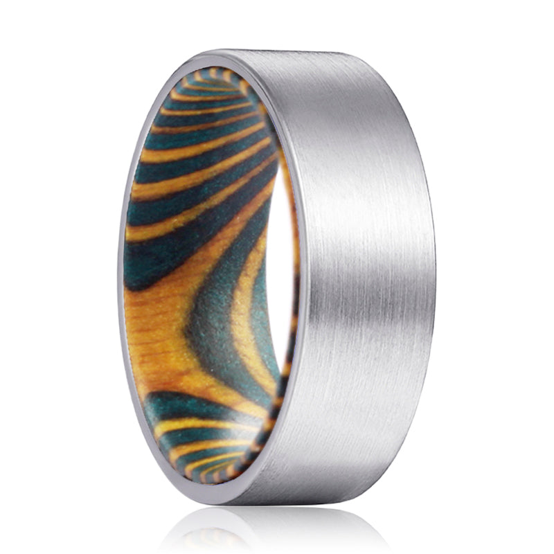 ROYAL Silver Flat Tungsten Brushed Finish with Green and Yellow Box Elder Wood Inlay Ring
