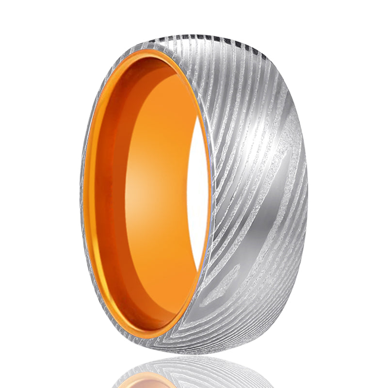 Silver Damascus Ring with Orange Inside Aluminum.