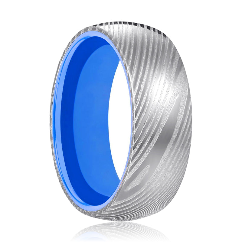 Silver Damascus Ring with Blue Inside Aluminum.