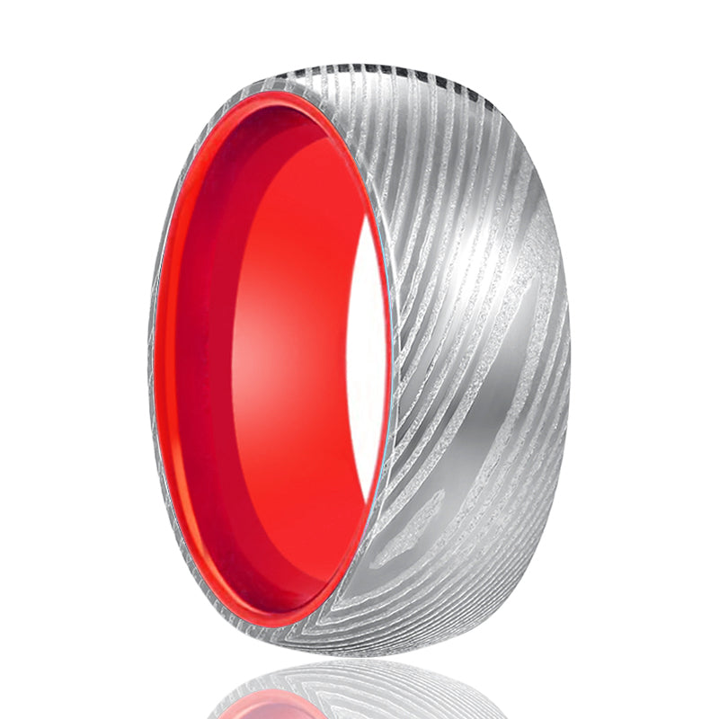 Silver Damascus Ring with Red Inside Aluminum