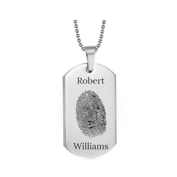 Stainless Steel Fingerprint Dog Tag Silver Style 2 - AydinsJewelry