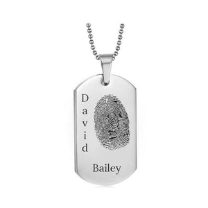 Stainless Steel Fingerprint Dog Tag Silver Style 3 - AydinsJewelry