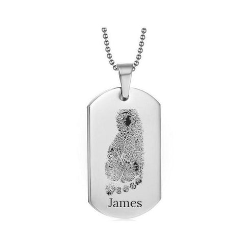 Stainless Steel Footprint Dog Tag Silver Style 1 - AydinsJewelry
