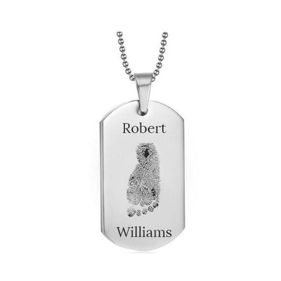 Stainless Steel Footprint Dog Tag Silver Style 2 - AydinsJewelry
