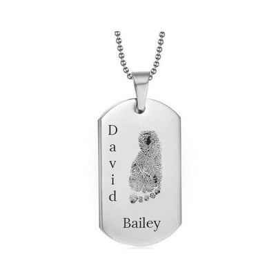 Stainless Steel Footprint Dog Tag Silver Style 3 - AydinsJewelry