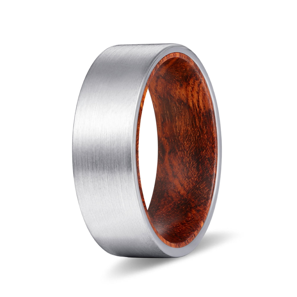 Silver Flat Tungsten Brushed Finish with Sanke Wood Inlay Ring