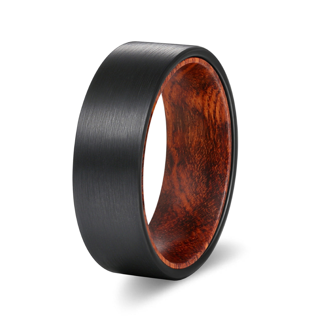 Black Flat Tungsten Brushed Finish Beveled Edge with a Snake Wood Sleeve Inlay