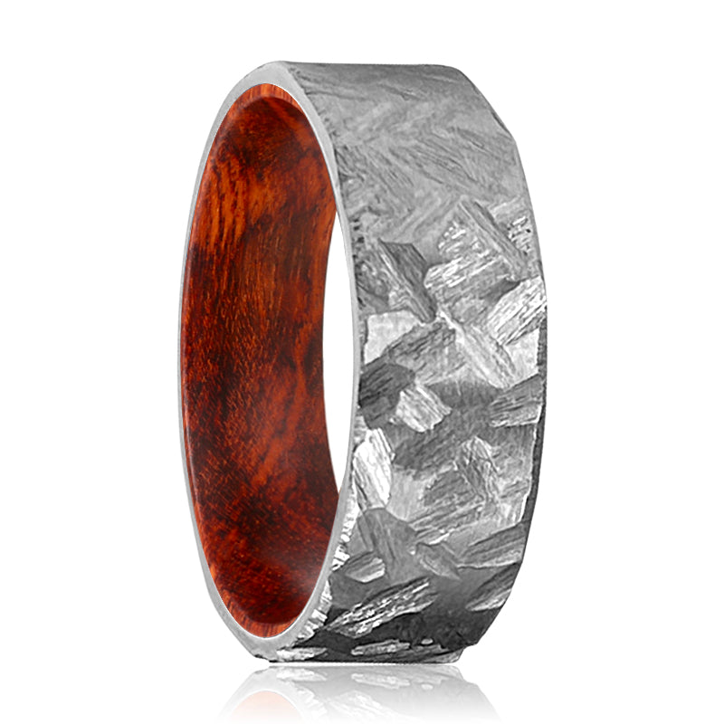 CRAWLEY Silver Hammered Titanium Ring with a Comfort-Fit Snake Wood Sleeve Inlay Ring