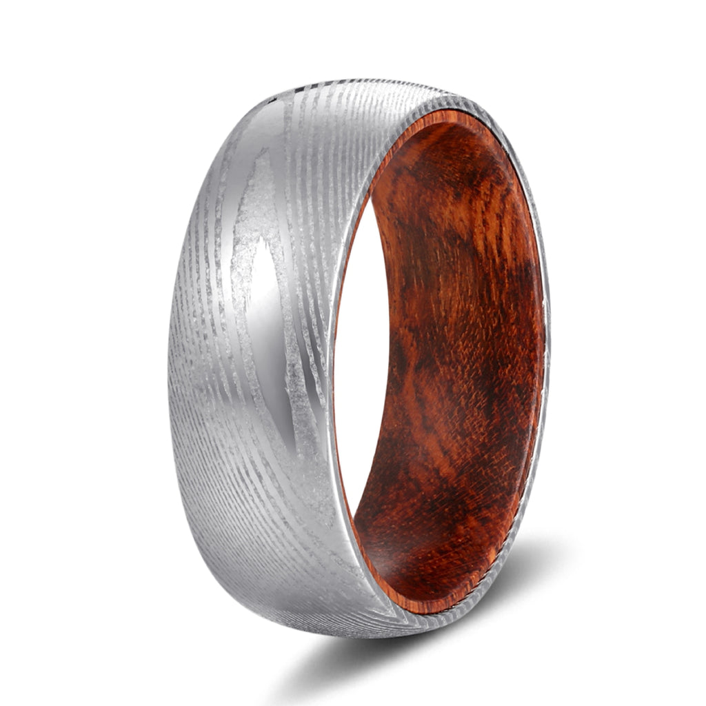 Genuine Damascus Steel Silver Ring with Snake Wood Sleeve Inlay