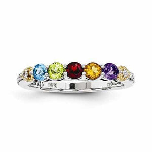 Sterling Silver & 14k Five-Stone And Diamond Mother's Ring - AydinsJewelry