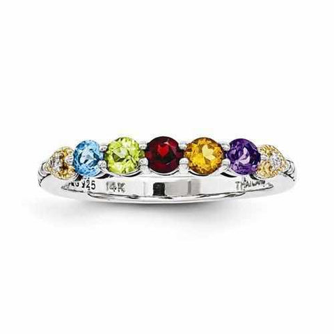 Image of Sterling Silver & 14k Five-Stone And Diamond Mother's Ring - AydinsJewelry