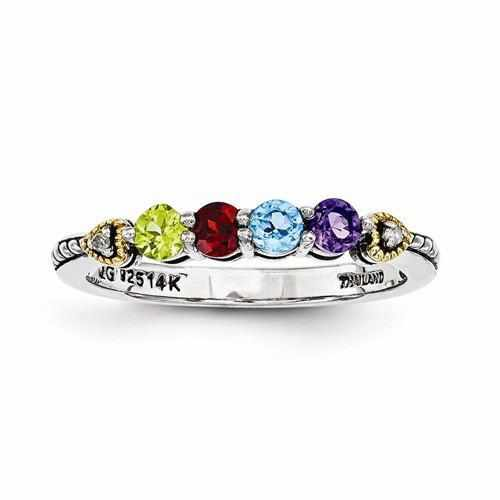 Genuine Sterling Silver Mother's Personalized Ring W/ 14k Four Birthstones & Diamond - Rings - Aydins_Jewelry