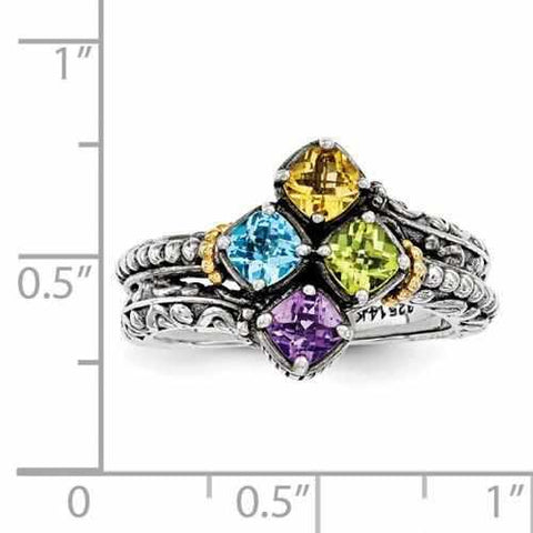 Genuine Sterling Silver Antique Personalized Mother's Ring W/ 14k Four Birthstone & Gold Accent - Rings - Aydins_Jewelry