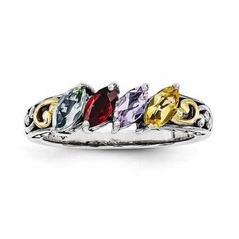 Image of Genuine Sterling Silver & 14k Four Birthstones Mother's Personalized Ring Antique Finish - Rings - Aydins_Jewelry