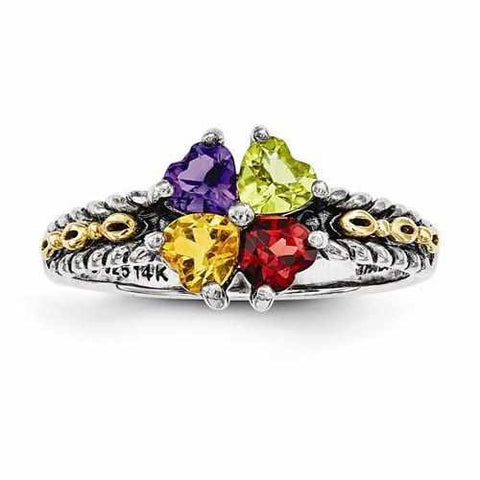 Image of Sterling Silver & 14k Four-Stone Mother's Ring - AydinsJewelry