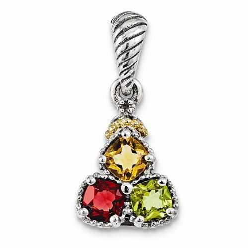 Sterling Silver & 14k Three-Stone And Diamond Mother's Pendant - AydinsJewelry