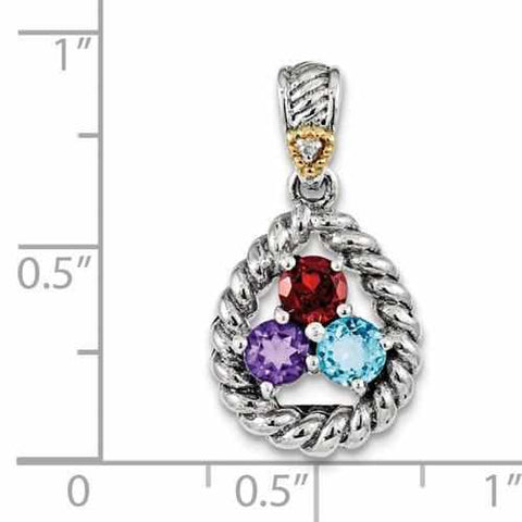 Image of Sterling Silver & 14k Three-Stone And Diamond Mother's Pendant - AydinsJewelry