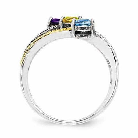 Image of Sterling Silver & 14k Three-Stone And Diamond Mother's Ring - AydinsJewelry