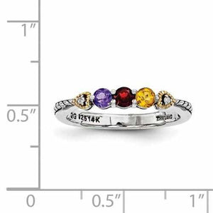 Antique Finish Sterling Silver Mother's Personalized Ring W/ 14k Three Birthstones & Diamond - Rings - Aydins_Jewelry