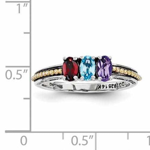 Image of Genuine Sterling Silver Mother's Personalized Ring W/ 14k Three Birthstones Antique Finish - Rings - Aydins_Jewelry