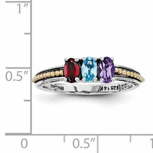 Genuine Sterling Silver Mother's Personalized Ring W/ 14k Three Birthstones Antique Finish - Rings - Aydins_Jewelry