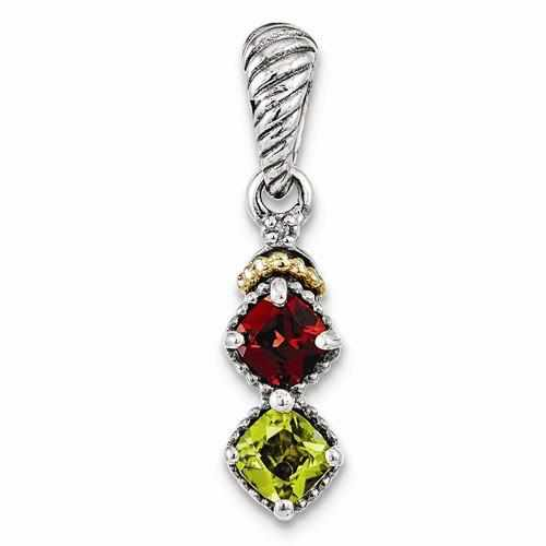 Sterling Silver & 14k Two-Stone And Diamond Mother's Pendant - AydinsJewelry
