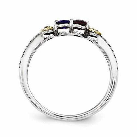 Image of Sterling Silver & 14k Two-Stone And Diamond Mother's Ring - AydinsJewelry