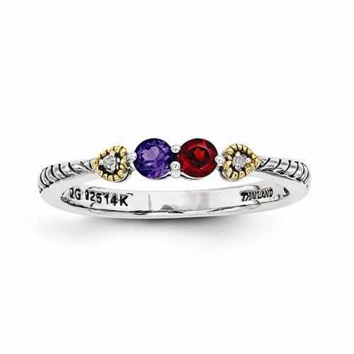 Sterling Silver & 14k Two-Stone And Diamond Mother's Ring - AydinsJewelry