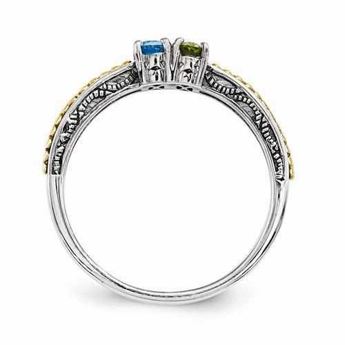 925 Sterling Silver Mother's Ring with 14K Dual Birthstone Setting - Rings - Aydins_Jewelry