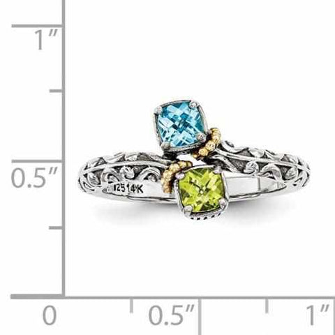 Image of Gold Accented Sterling Silver Mother's Personalized Ring W/ 14k Two Birthstones Antique Finish - Rings - Aydins_Jewelry