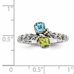 Gold Accented Sterling Silver Mother's Personalized Ring W/ 14k Two Birthstones Antique Finish - Rings - Aydins_Jewelry