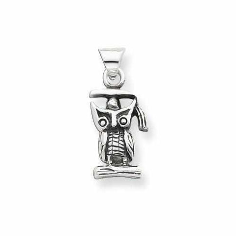 Sterling Silver Antiqued Graduation Owl Pendant - AydinsJewelry