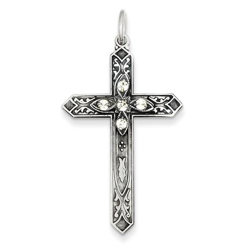 Sterling Silver April Birthstone Cross Pendant - AydinsJewelry