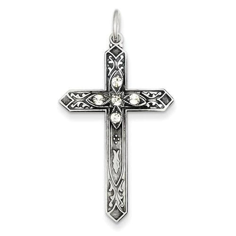 Image of Sterling Silver April Birthstone Cross Pendant - AydinsJewelry