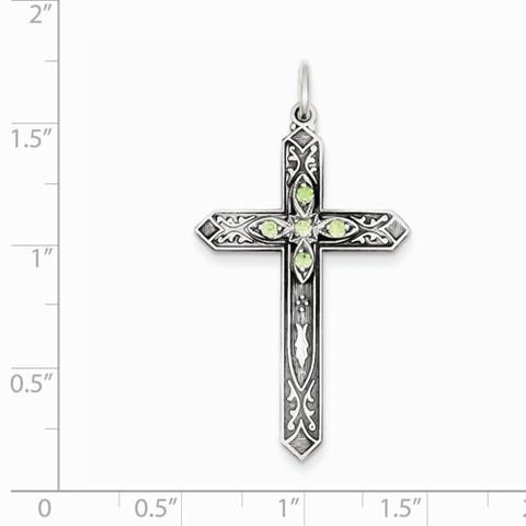 Image of Sterling Silver August Birthstone Cross Pendant - AydinsJewelry