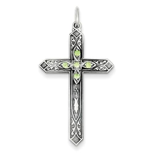 Sterling Silver August Birthstone Cross Pendant - AydinsJewelry