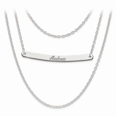 Sterling Silver Brushed Or Polished 3 Chain 1 Bar Name Necklace - AydinsJewelry