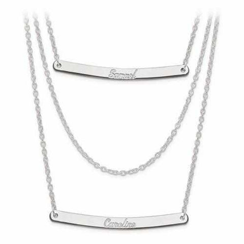 Sterling Silver Brushed Or Polished 3 Chain 2 Bar Name Necklace - AydinsJewelry