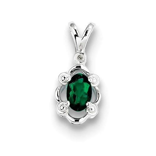 Sterling Silver Created Emerald & Diamond Pendant - AydinsJewelry