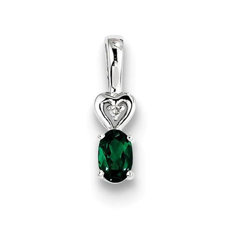 Image of Sterling Silver Created Emerald & Diamond Pendant - AydinsJewelry