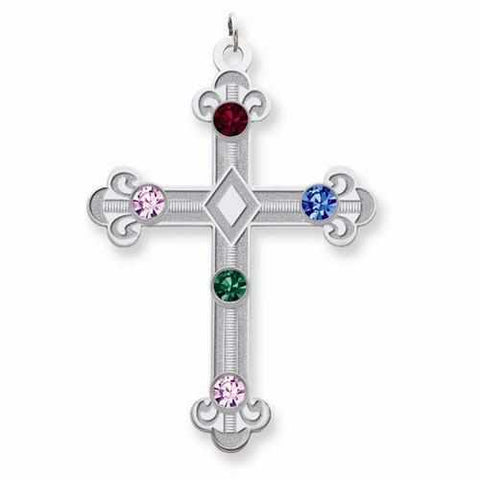 Image of Sterling Silver Crystal Family Cross Pendant - 5 Stones - AydinsJewelry