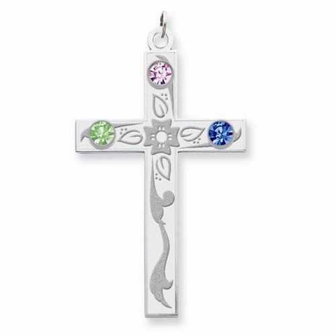 Image of Sterling Silver Crystal Family Cross Pendant - 3 Stones - AydinsJewelry