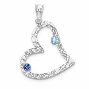 Sterling Silver Crystal Family Heart Pendant  - 2 Stones - AydinsJewelry
