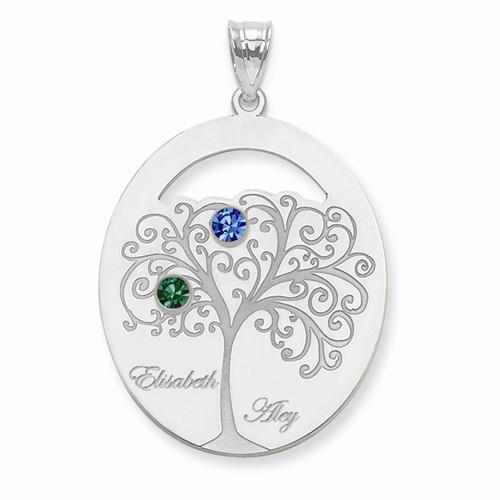 Sterling Silver Crystal Family Pendant - 2 Stones - AydinsJewelry